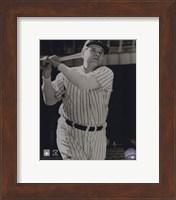 Framed Babe Ruth -Bat over shoulder, posed sepia
