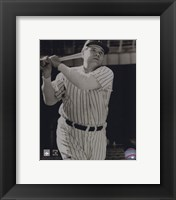 Framed Babe Ruth -Bat over shoulder, posed sepia