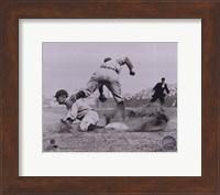 Framed Ty Cobb - Sliding into base, sepia