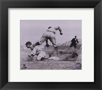 Framed Ty Cobb - Sliding into base, sepia