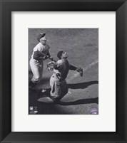 Framed Yogi Berra - catching action / sepia