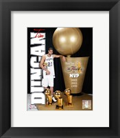 Framed Tim Duncan 2005 - MVP with 3 Trophies  (#3)