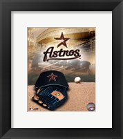 Framed Houston Astros - '05 Logo / Cap and Glove
