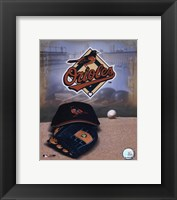 Framed Baltimore Orioles - '05 Logo / Cap and Glove