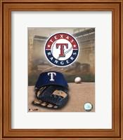 Framed Texas Rangers - '05 Logo / Cap and Glove