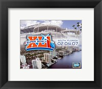 Framed Super Bowl XLI - 2/04/07 Logo-Stadium / Aerial Miami City View