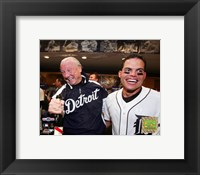 Framed Al Kaline & Ivan Rodriguez - 2006 ALDS Game 4 Celebration