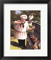 Framed Barbecue Chef with Hot Sauce