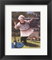 Framed Barbecue Chef with Cat