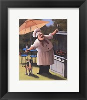 Framed Barbecue Chef with Dog