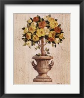 Framed Yellow And Orange Rose Topiary