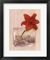 Framed Red Flower In Bowl With Rocks