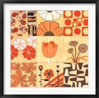 Framed Orange Floral Montage