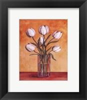 White Tulips In Vase Framed Print