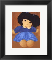 Framed Doll With Black Hair Pigtails