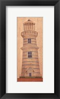 Framed Blue Striped Lighthouse