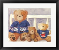 Framed Bears With Blue Sweaters