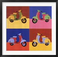 Framed Four Motor Scooters