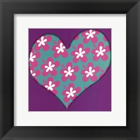 Framed Pink Flowered Heart