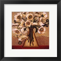 Framed White Autumn Poppies