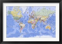 Framed Political/Physical Map of the World - (mercator projection)