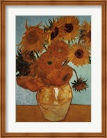 Framed Sunflowers on Blue, c.1888