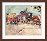 Framed Encampment of Gypsies with Caravans, near Arles, c.1888