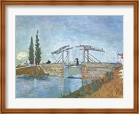Framed Langlois Drawbridge at Arles, c.1888