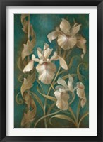 Framed Irises on Teal