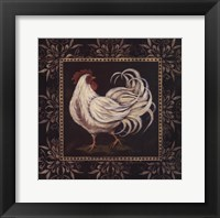 Framed Black & White Rooster II