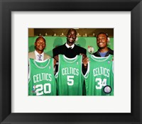Framed Ray Allen, Kevin Garnett and Paul Pierce 2007 Press Conference