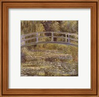 Framed Water Lily Pond and Bridge
