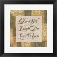 Live Well … Framed Print