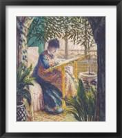 Framed Madame Monet Embroidering, c.1875