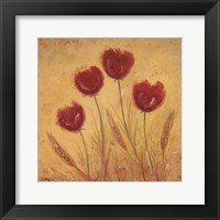 Framed Red Tulips and Wheat