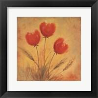 Framed Orange Tulips and Wheat