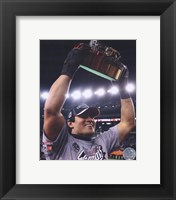 Framed Tedy Bruschi 2007 Champ. Game celebrating with the Lamar Hunt Trophy