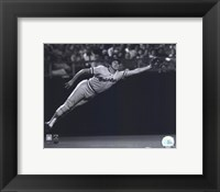Framed Brooks Robinson - 1973 Diving Catch, B&W