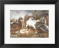 Framed Fighting Horses