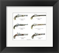 Framed Authentic Early American Pistols (Set 6)
