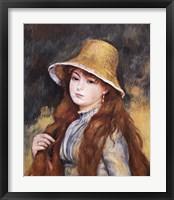 Girl and Golden Hat Framed Print