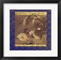 Framed Quails and Flowers