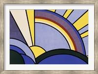 Framed Modern Painting of Sun Rays