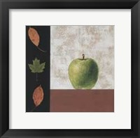 Framed Green Apple and Leaves