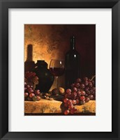 Wine Bottle, Grapes and Walnuts Framed Print