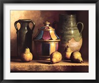 Moroccan Pottery with Pears Framed Print