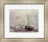 Framed Coast Scene With Ships