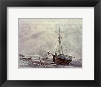 Framed Coast Scene With Ships