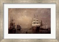 Framed Merchantmen Off Boston Harbor