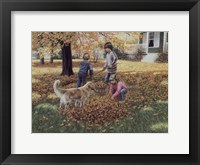 Framed Raking Leaves